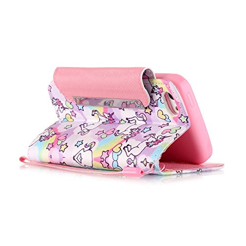 Chreey Coque Apple Iphone 5c (4 pouces),PU Cuir Portefeuille Etui Housse Case Cover ,carte de crédit pour , serrures magnétiques, support pliable, idéal pour protéger votre téléphone licorne