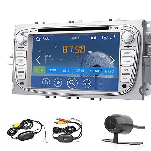 Double DIN En Dash Navigation GPS 7 pouces lecteur autoradio st¨¦r¨¦o DVD Argent Pour Ford Focus de 2008 ¨¤ 2010 Auto avec ¨¦cran tactile Bluetooth SD USB AM FM RDS ipod + 4GB SD CARTE carte + cam¨¦ra de recul sans fil gratuit