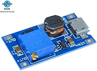 eHUB MT3608 DC Adjustable Boost Module 2A Plate Step up with Micro USB LM2577 Replace XL6009