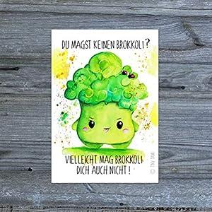 Brokkoli Aufkleber mit Spruch Sticker Kawaii Gemüse Obst Handmade