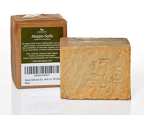 Aleppo Seife mit ca. 95% Olivenöl, 5% Lorbeeröl - handgeschnitten - Naturprodukt - Gewicht: ca. 200 Gramm