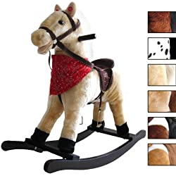 Jago Cavallo cavallino a dondolo per bambini con effetti sonori in peluche ca. 74/30/64 cm colore beige