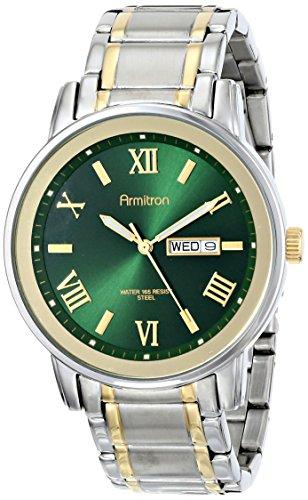 35GNTT Multi-Function Green Sunray Dial Two-Tone Bracelet Watch (Armitron Herren Uhren Casual)