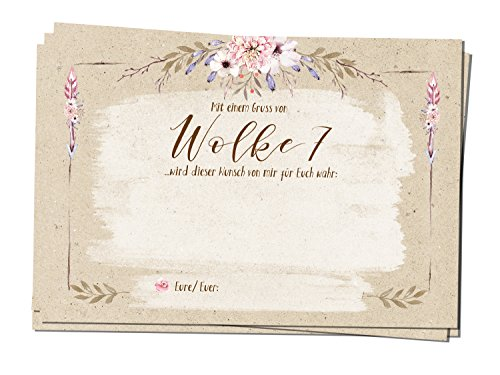 bigdaygraphix 50 Ballonkarten Ballonflugkarten Hochzeit Hochzeitskarten Hochzeitsspiel extra leicht Ballon A6 Kraftpapier Landhausstil Country Flowers