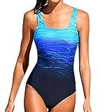 SHOBDW Womens Schwimmen Kostüm mit Pad Badeanzug Monokini Push up Bikini Sets Bademode (XL, Blau)