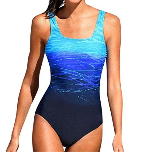SHOBDW Womens Schwimmen Kostüm mit Pad Badeanzug Monokini Push up Bikini Sets Bademode (XL, ()