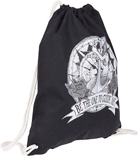 Küstenluder Unisex Rucksack Be The One Mermaid Turnbeutel Schwarz Schwarz mit weißem Print