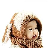 Sunroyal Inverno caldo Richoose Coif Cappuccio Sciarpa Caps Cappello Earflap Fox scialli di lana lavorato a maglia cappelli della protezione per il bambino scherza ragazzi delle ragazze (Marrone)