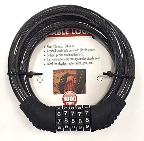 Starkes Fahrradschloss Ziffern oder Schlüssel mit geflochtenem Stahlseil für Fahrräder, Motorräder oder Tor, 10 x 1000 MM with Code