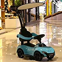 SHARESUN Balance scooter, Kids walker trolley,push-powered ride-on toy with push-bar&awning, For Children 1-7 Year Old Boys&Girls, Up to 40 kg,Blue