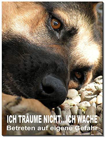 Schäferhund-3 Größen-Aluminium Verbund-Hund-Tierschild-Hunde-Warnschild-Hinweisschild 11 (1451-12 -300 x 200 x 2 mm mit Klebepats)