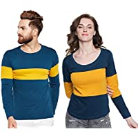 The Dry State Couple's Cotton Stylish Full Sleeves Tshirt CCBB119G16321
