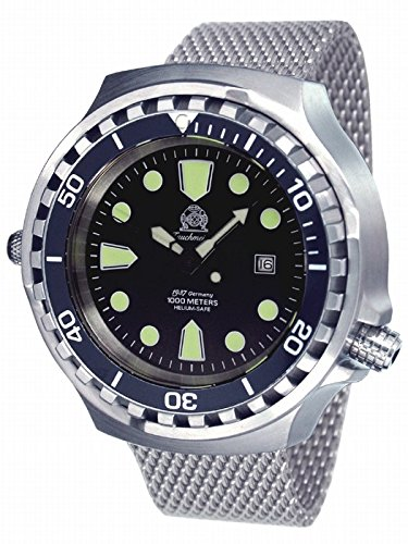 Very big 52mm Automatic Diver-Helium Velve- Sapphire- Milanaise strap T0256MIL