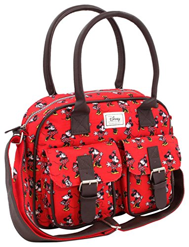 Disney Classic Minnie Cheerful Umhängetasche, 33 cm, Rot (Rojo)