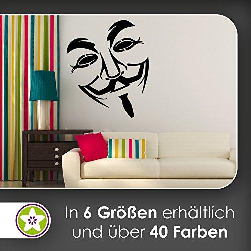 KIWISTAR Anonymous Maske - Guy Fawkes Wandtattoo in 6 Größen - Wandaufkleber Wall Sticker