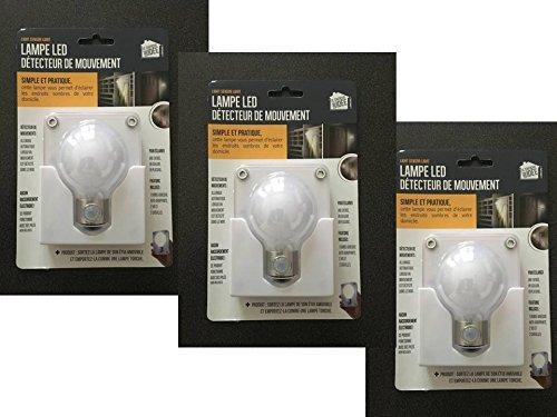 Lot de 3 : Lampe à led Détecteur de mouvement et détachable. Idéal pour les WC, un couloir, un placard, la cave, le garage, etc. Plus de zone d'ombre la nuit chez vous. Piles fournies