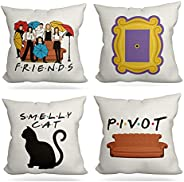 LUOFISH Set of 4 Friends Pillow Covers,Vintage Friends TV Show Theme,Gifts for Fans of Friends TV Show,Cotton
