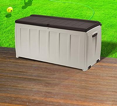 Keter 17185300 Kissenbox Storage Box with seat 340L, Kunststoff, beige / braun von Keter bei Du und dein Garten