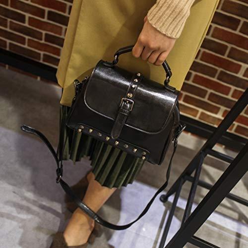 CXQ Handtaschen Rindsledereuropäischen und amerikanischen Mode Leder Umhängetasche Damen Leder, schwarz