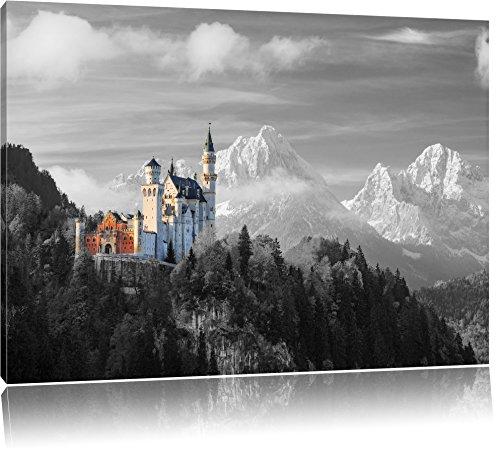 Schloss Neuschwanstein im Herbst B&W Detail, Format: 60x40 auf Leinwand, XXL riesige Bilder fertig gerahmt mit Keilrahmen, Kunstdruck auf Wandbild mit Rahmen, günstiger als Gemälde oder Ölbild, kein Poster oder Plakat (Neuschwanstein Poster Schloss)