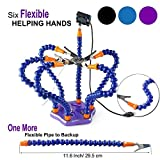 Flexible Helping Hands Soldering , Third Hand , Soldering Station Tool ( Non-slip Aluminum Base , Built in Trays , Heat Resistant covers , 360 Degree Swiveling Clips , Brushless DC Fan ) by LITEBEE