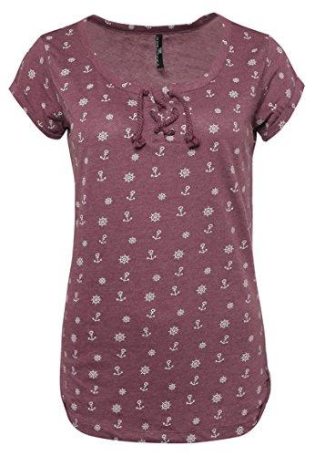 Sublevel Damen T-Shirt mit Allover-Minimal Ankerprint | Maritimes Shirt mit Kordeln Dark-Rose S (T-shirt Anker-damen)