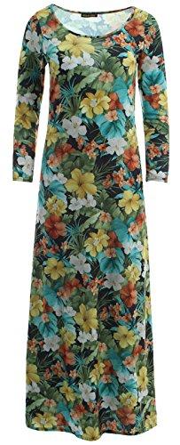 Damen Blumen Multi 3 Sleeve Scoop Flare Swing Kleid Maxi, Gr. 36-54 - Tropical Floral