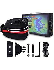 WOLFTEETH bicicleta asiento paquete bolsa de almacenamiento Luz LED trasera para bicicleta sillín Wedge alforja, 3modo intermitente (rojo)