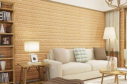 PW Tapete selbstklebende Tapete 3D Wandaufkleber Wohnzimmer Schlafzimmer Schlafsaal Ziegel Muster Tapete (77 * 70cm, ein Stück) , ACU Digital