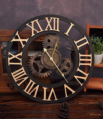 ZHENAI Grande horloge murale Équipement industriel de vent Ensemble de table suspendue Café Famille Salon Salle à manger personnalisée Cadeau de vacances ( Couleur : A-50cm )