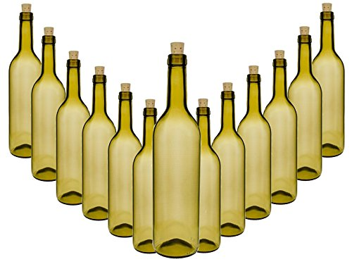 Glasflaschen Set mit Press-korken | 10 teilig | Füllmenge 0,75 Liter 750 ml | Tradit Antik Grün...