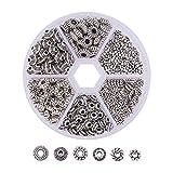 Meowoo 300PCS Perline Distanziatori Perline per Bigiotteria Perline Forma Fiore, Senza Piombo, Argento Antico, 6~7.5x2~3mm, Foro: 1~3.5mm (Argento, 300 PCS)