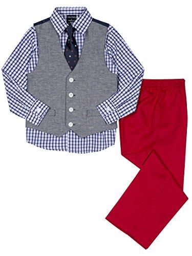 Nautica Boys' Toddler 4-Piece Formal Dresswear Vest Set, Peacoat Denim, 3T