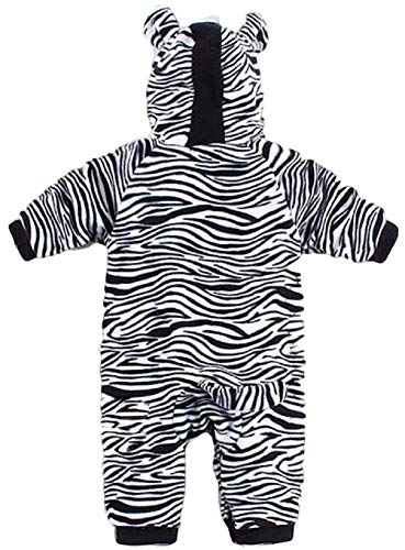 Fancy Me Baby Kleinkind Mädchen Jungen Schwarz Weiß Zebramuster Tiermuster mit Kapuze Schneeanzug Einteiler Halloween Kostüm Kleid Outfit - Schwarz/weiß, Schwarz/weiß, 18-24 Months (95cms)