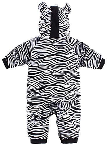 ind Mädchen Jungen Schwarz Weiß Zebramuster Tiermuster mit Kapuze Schneeanzug Einteiler Halloween Kostüm Kleid Outfit - Schwarz/weiß, Schwarz/weiß, 18-24 Months (95cms) ()