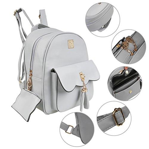 Yimoji Zaino/cartella in pelle PU da ragazza/donna, ideale per scuola e viaggio, grigio Gray