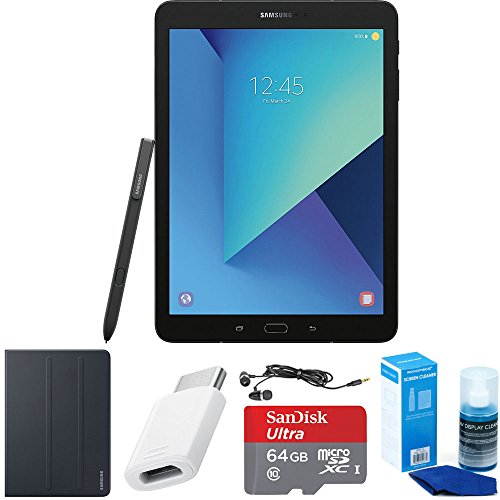 Samsung Galaxy Tab S3 9.7 Inch Tablet with S Pen - Black - Book Cover Accessory Bundle includes 64GB MicroSDXC High-Speed Memory Card, USB-C Adapter, Tablet Book Cover, Screen Cleaner and Earbuds