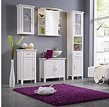 Badmöbel Set Kiefer massiv weiß gewachst Badezimmermöbel 5 teilig komplett