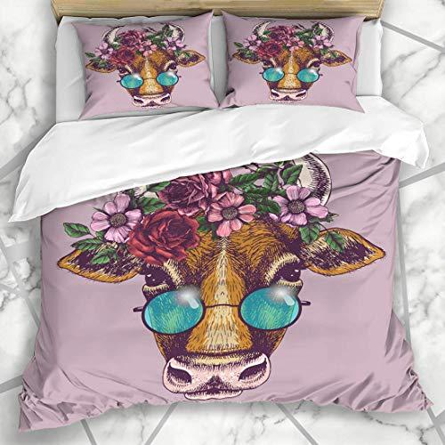 Bettbezug-Sets Blau Boho Cow Blumenkranz Runde Haustier Sonnenbrille Gesicht Brille Kopf Hippie Emblem Zeichnen Mikrofaser Bettwäsche mit 2 Pillow Shams