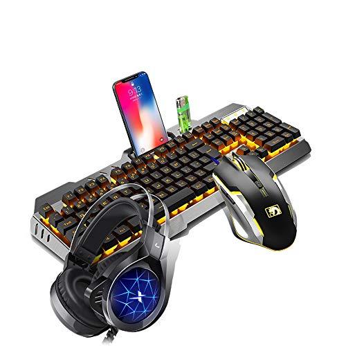 ILkeyko Gaming-Tastatur und -Maus-Combo-Set mit Kopfhörer Dreiteiliges mechanisches Feeling Wasserdicht