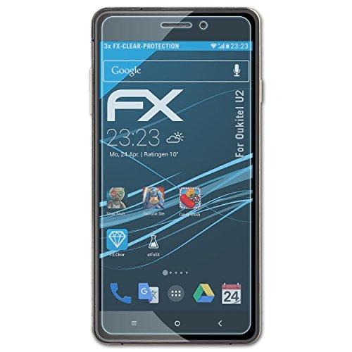 atFolix Schutzfolie kompatibel mit Oukitel U2 Folie, ultraklare FX Bildschirmschutzfolie (3X)