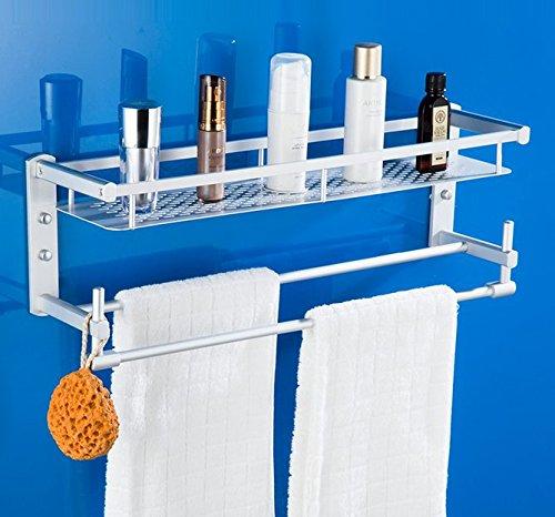 Mmhy alluminio dello spazio bagno porta asciugamani da parete WC porta asciugamani porta asciugamani da bagno forata da 60cm, bright your life A