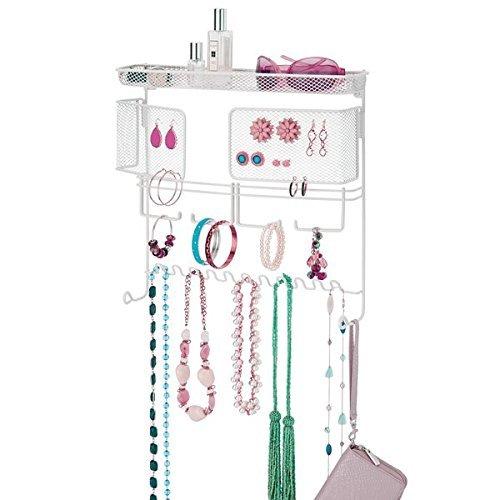 mDesign-Colgador-de-joyas–El-perfecto-joyero-organizador-para-pendientes-y-otros-accesorios–Colgador-ideal-para-colgar-collares-o-pulseras-y-organizar-bisutera–blanco