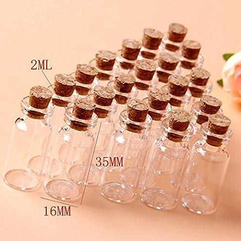 20Pcs 16x35mm Tiny Mini Empty Clear Cork Glass Bottles Vials 2ml