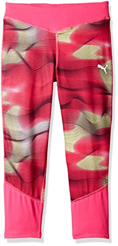 Puma Little Girls' Cropped Tights with Contrast Piecing, Pink Glow, 5 -