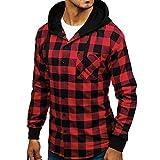 UJUNAOR Camicia da Uomo in Stile Casual da Boscaiolo Plaid Flanella A Quadri Camicia Imbottita da Lavoro di Cotone Cappotto Invernale,M L XL XXL(Large,Rosso)