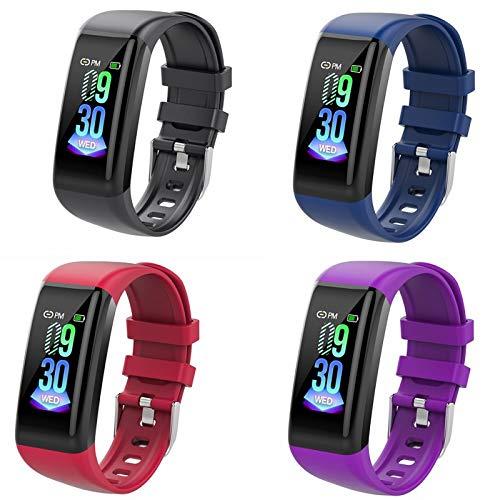 JKFGDYIMNFS Intelligentes ArmbandSmart Armband Sport Smart Uhr Farbdisplay Herzfrequenz Schrittzähler Test Kalorien wasserdicht Uhren Smart Armband, Lila