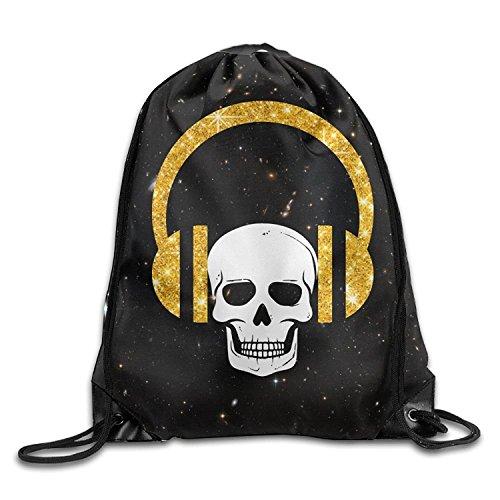 Skull Funny Gold Glitter Music Headset Portable Runner Drawstring Backpack Bag Sackpack Sport Bag (Gold Athletic Belt)