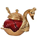 #4: Gaura Art & Crafts Oxidize Golden Metal Home Decor Duck Shape Blue Colored Glass Bowl Tray Set,China Duck Bowl set,Mounth Freshener ,Mukhwas Tray,Sugar,Sweets,Namkeen Container Bowl Tray set,Traditional Set With Spoon Showpiece Return ,Wedding,Festival,Rakhi Gifts Set