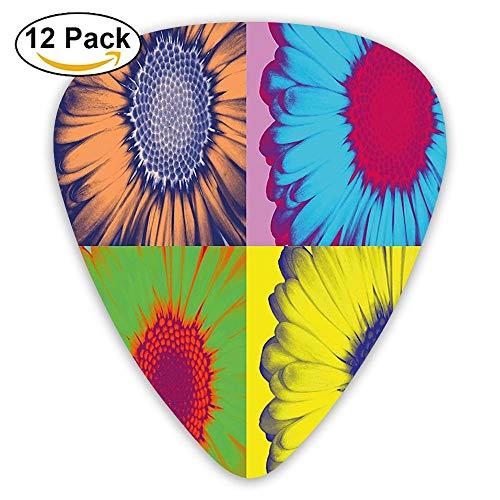 Pop Art Inspired Colorful Kitschy Daisy Flower Hard-Edged Western Design Guitar Picks 12/Pack Set